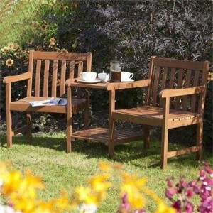 Salon en bois exotique jardin